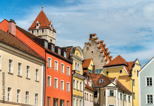 Photo Stands Buildings in the Old Town of Regensburg, Germany