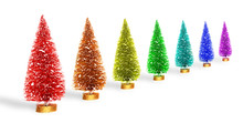 Raibnow Clored Small Artificial Christmas Trees Over White Background