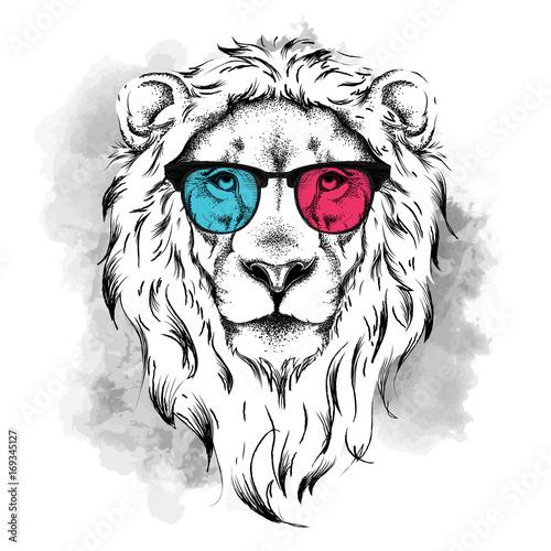 Deurstickers Hand getrokken schets van dieren Portrait of the lion in the colored glasses. Think different. Vector illustration.