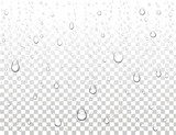 Fototapeta Łazienka - Realistic pure water drops on isolated background. Clean water drop condensation. Steam shower condensation on vertical surface. Vector illustration.