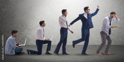 Fototapeta Business concept with man progressing through stages obraz