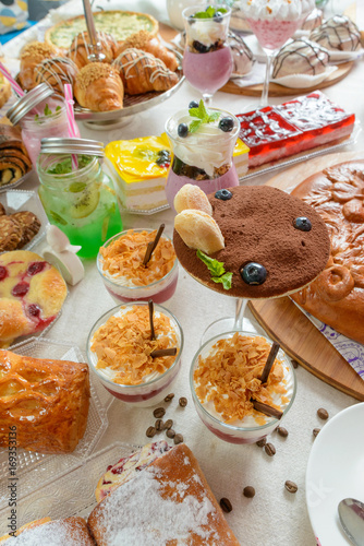 Foto op Aluminium Picknick Table with confectionery sweets