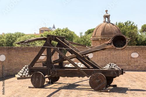 Old roman catapult  in Rome Fototapeta