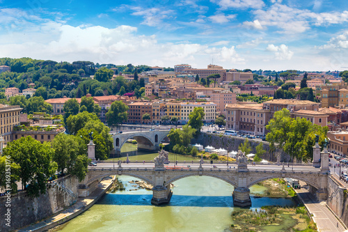 View above Rome and Tiber  in Rome Canvas Print