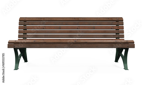Wooden Park Bench Isolated Canvas Print