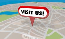 Visit Us Map Pin Location Come Here 3d Illustration