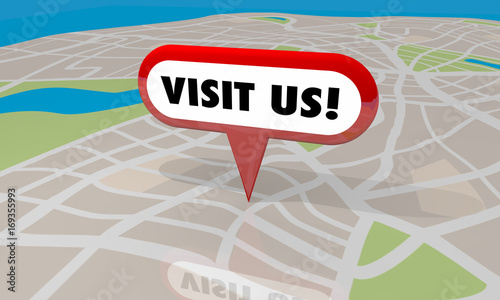 Visit Us Map Pin Location Come Here 3d Illustration Fototapete
