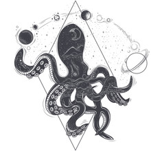 Vector Geometric Illustration Of An Octopus And Cosmic Planets On The White Background, A Sketch Of A Tattoo, An Engraving, A Print, A Design Element