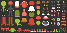 Monster And Alien Creation Kit, Suitable For Children, Halloween, Game Application On Smart Phone, Flat Design Vector