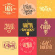 Vector set of hand drawn trendy lettering of autumn hot drinks. For menu design, greeting cards, invitations, logotypes, posters.