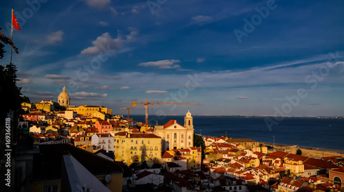 Photo  Sunset View to Lisbon from Miradouro Sophia de Mello Breyner Andresen at Lisbon,