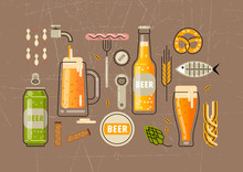 Vector Set Of Flat Line Icons For Beer Festival. Bottles And Glasses Of Beer, Accessories And Snacks.