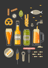Vector Vertical Poster For  Beer Festival. Bottles And Glasses Of Beer, Accessories And Snacks On Black Background.