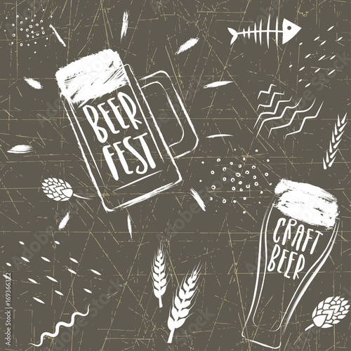 Staande foto Retro sign Seamless vector hand-drawn pattern of beer fest. Stylized beer glasses and grains on a background of black chalk board.