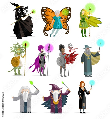 Photo  magicians, wizards, elf, fairy, witchs and magical characters