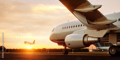Cadres-photo bureau Avion à Moteur White commercial airplane standing on the airport runway at sunset. Passenger airplane is taking off. Airplane concept 3D illustration.