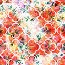 Seamless Quatrefoil Pattern With Watercolor Butterflies And Flowers
