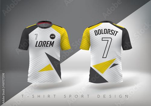Soccer t-shirt design slim-fitting with round neck. Vector illustration