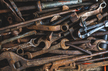 Background Of Old Rusty Tools....