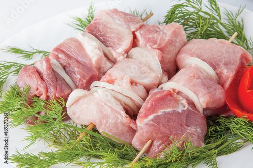 Keuken foto achterwand Vlees Raw pork beef meat on the white plate