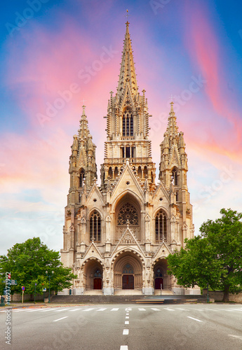 Cathedral in Brussels, Notre Dame in Belgium, front view