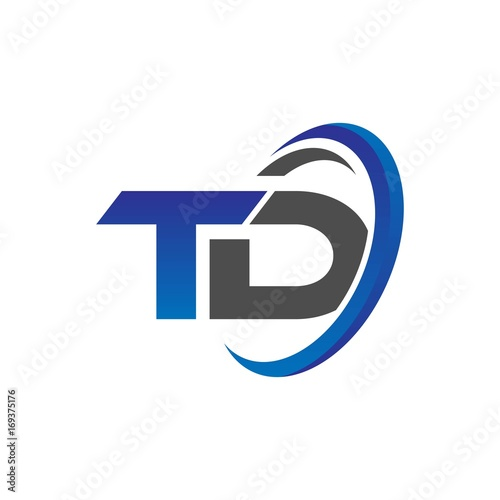 Vector Initial Logo Letters Td With Circle Swoosh Blue Gray Buy