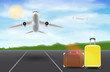 airplane fly over runway airport with travel bag
