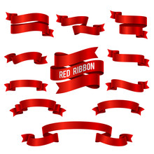 Silk Red 3d Ribbon Banners Vec...