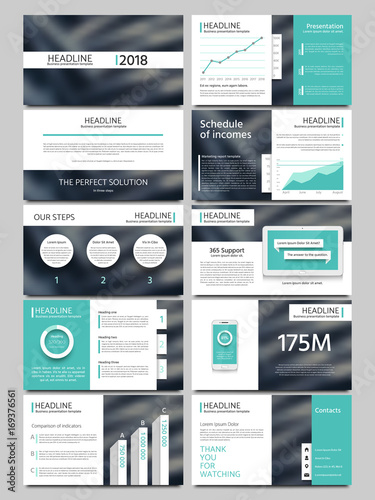 Foto  Keynote style business presentation vector template
