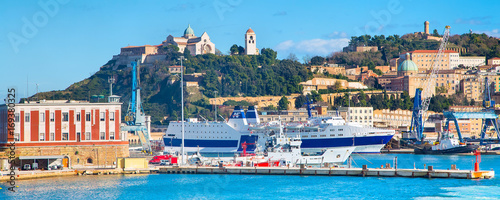 harbor port of Ancona, Italy with ships and city panorama Wallpaper Mural