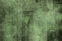 Shades Of Bright And Muted Green. Grunge Background. Large, Close Up Photo Of An Abstract Painting. Acrylics On Canvas.
