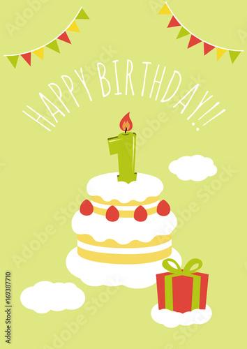 1 Year Old Birthday Card Vector