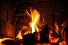 Fire Burning Inside A Brick Stove - Wood, Ash, Flames.
