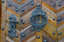 Old Heavy Metallic Round Door ...