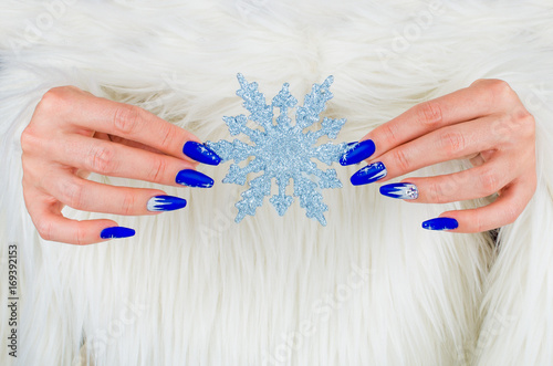 Beautiful nail decorations for your Christmas and New Year parties Poster