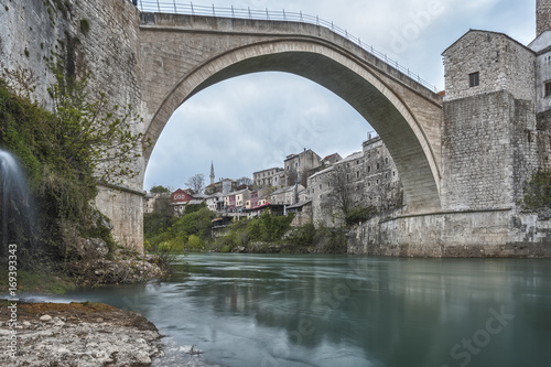 Eastern Europe, Mostar, Bosnia and Herzegovina. .The Stari Most (Old Bridge), icon of the war in the Balkans