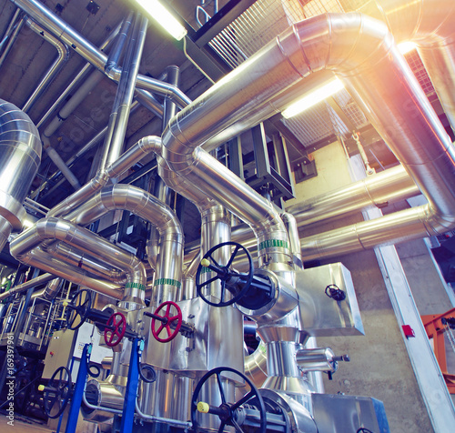 Fotografia Industrial zone, Steel pipelines, valves and tanks