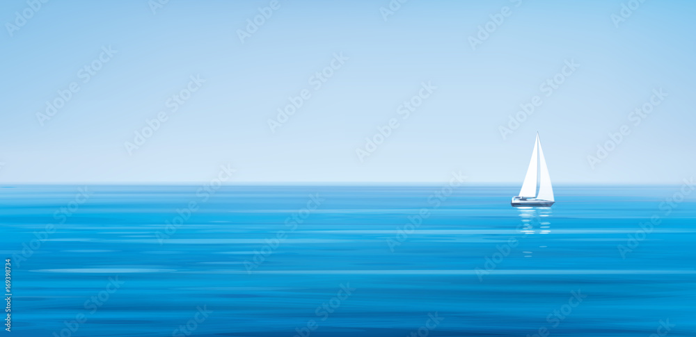 Fototapety, obrazy: Vector blue sea, sky  background and yacht.