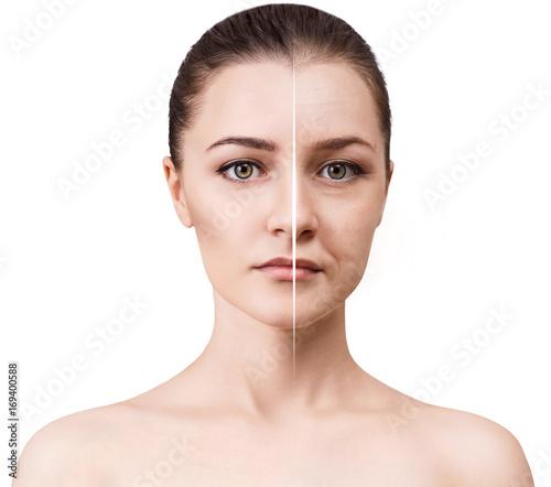 Fototapeta Woman's face before and after rejuvenation. obraz na płótnie