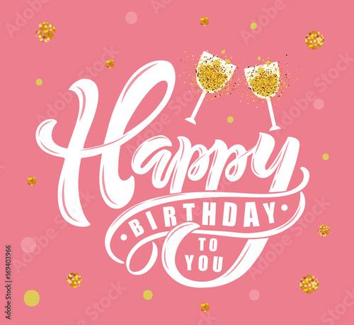Happy Birthday text as Birthday badge/tag/icon Wallpaper Mural