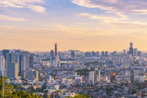 Fotografia  Sunset at 63 Building of Seoul City,South Korea