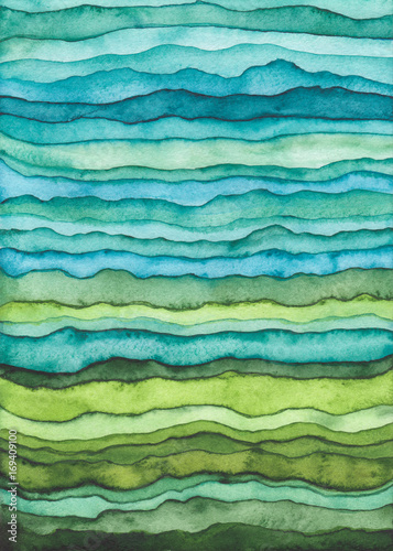 Poster Abstract wave Blue and Green Waves. Hand Drawn Watercolor Background