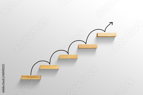 Fotografie, Obraz  rising arrow on staircase, increasing business