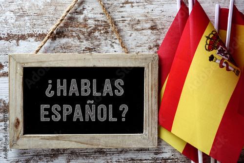 question hablas espanol? do you speak Spanish? Wallpaper Mural