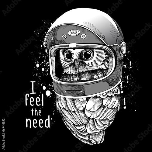 Owl in a modern racer helmet. Vector illustration.