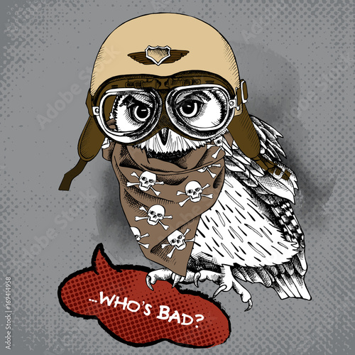Poster with portrait of owl wearing a retro motorcyclist helmet and neckerchief with images a skull. Vector illustration.