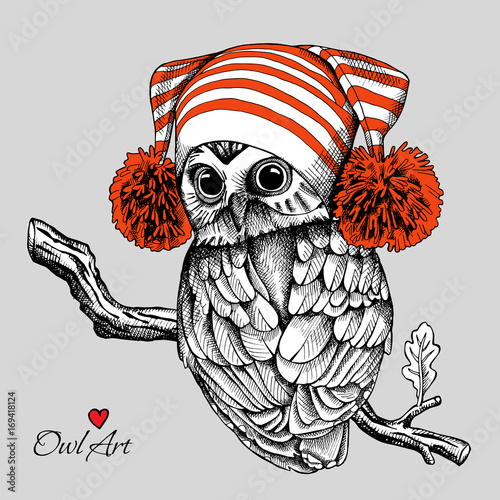 Owl in a red Hat with pom-pom on branch. Vector illustration.