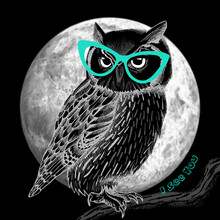 Owl With Glasses And Moon At N...