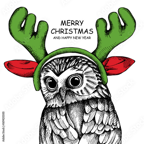 Owl portrait in a mask Santa's reindeer antlers. Vector illustration.