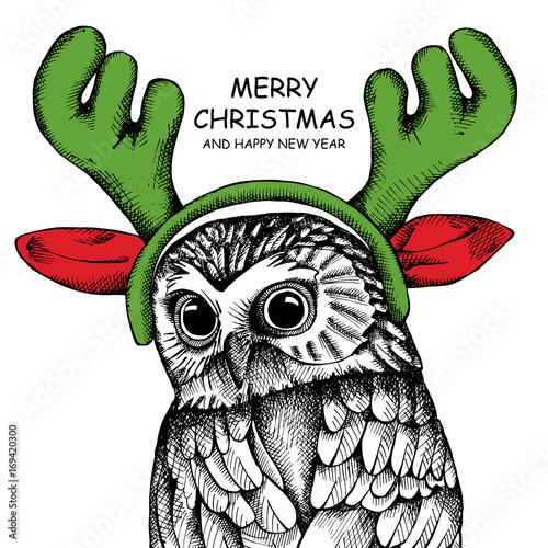 Owl portrait in a mask Santa's reindeer antlers. Vector illustration.